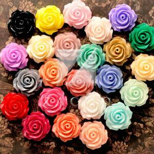 15/24pcs Resin Flatback Cabochons Cameo Flower Embellishments 14.5x14.5x8mm BW l