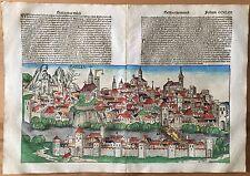 Doppelblatt CCXLIIII STADTANSICHT BASEL, Schedel Weltchronik von 1493, koloriert