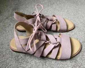 Clarks Pink Suede Gladiator Sandals - Size 4