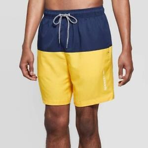"Speedo Mens 8"" Volley Swim Trunks Short Gold UPF 50 Water Repel Size L NWT"