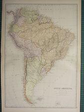 1882 LARGE ANTIQUE MAP ~ SOUTH AMERICA ~ BRAZIL ARGENTINA CHILE PERU URUGUAY