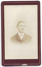 ANTIQUE Photograph CdV European handsome man gentleman bow tie fashion 1880s old
