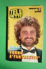TELE SETTE 47/1985 BEPPE GRILLO BEN CROSS JENILEE HARRISON KATE BUSH S. VASTANO