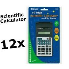 12x BAZIC SCIENTIFIC CALCULATOR 10 DIGIT W/ FLIP CASE TRIGONOMETRIC