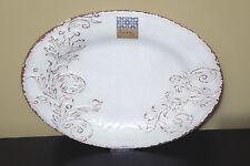 Nicole Miller Beige Brown Crackle Embossed Scroll Melamine Serving Platter Tray