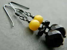 Vintage 50s French Jet & Yellow Satin Glass Beads & Oxidised 925 Silver Earrings