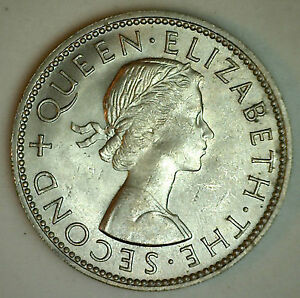 New Zealand 1962 Florin Copper Nickel Coin BU Kiwi Bird