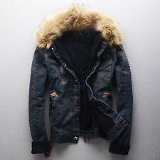 New Winter UNISEX Warm Fur Collar Fleece Denim Jacket Causul Thicken Coat Parka
