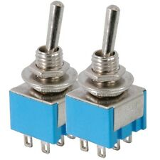 2 x Miniature Toggle Switches, 2 x on on - 11.5 x 12.5mm 3A 250Vac / 6A 125Vac