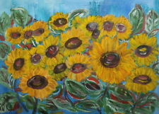 Vintage floral oil painting sunflowers signed