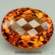 NATURAL MADEIRA CITRINE 18X13 CHECKERBOARD TOP CUT OVAL BRIOLETTE