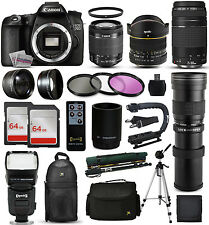 Canon 70D DSLR Camera + 18-55mm STM + 75-300mm III + 420-1600mm + 128GB + More