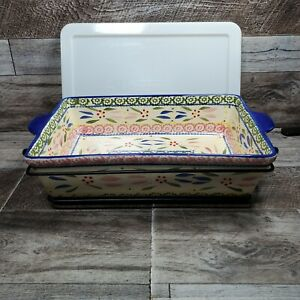 Temp-Tations Old World Baking Dish 2.5 Qt Pan with Wire Rack and Lid Confetti