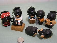 Handmade Aunt Jemima 2 inch 8PC African American Black Nativity set from Peru