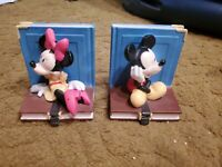 Vintage Disney Mickey & Minnie Mouse Sitting On A Book Ceramic Figurine (PAIR)