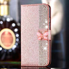 Hot Luxury Diamond Glitter Flip Stand Wallet Card Case Cover For iPhone Samsung