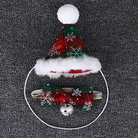 Pet Cat Dog Birthday Hat Party Christmas Santa Cap&Bow Tie Collar Puppy Costume