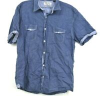 Projek Raw Mens XL 100% Cotton Blue Button Front Dress Casual Shirt Short Sleeve