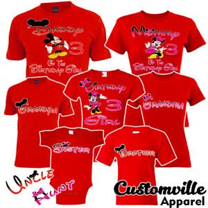 Minnie Mickey Birthday Girl Family Matching T-shirts disney trip Vacation party