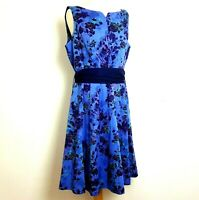 Per Una Midi Dress UK 16 Fit Flare Blue Floral Belted Cotton Lined