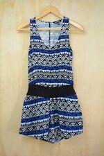 908bf83db6e4 Express - Blue   black COTTON sleeveless shorts romper