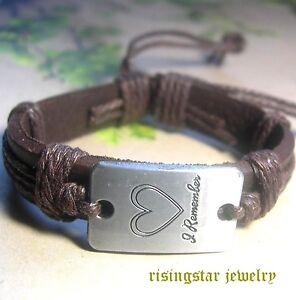 """I Remember Love"" Leather Fashion Surfer Biker Character Bracelet Wristband"