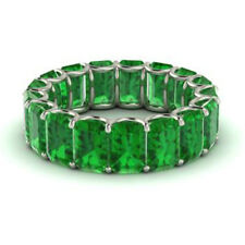 Gold Gemstone Eternity Band Size 4 5 3.40Ct Natural Emerald Ring Solid 14K White