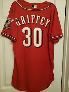 Ken Griffey Jr Cincinnati Reds Los Rojos Majestic Cool Base Jersey Men's L 44