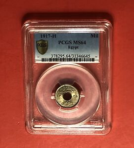 1917H -EGYPT -1 MILLIEME COIN,GRADED BY PCGS MS64...RARE