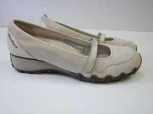 Skechers Ivory Leather Comfort Walking Mary Jane Loafer Shoe Women 7.5-8