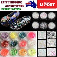 6/12 Containers of Nail Art Crushed Flakes Rainbow Glass 3D Decorations