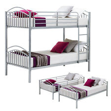 3FT Single Silver Metal Bunk Bed Frame Split Into 2 Person Beds For Family Guest