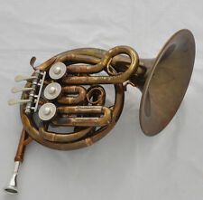 Newest Antique MiNi French Horn B-flat  3-keys Valves Piccolo horn With Case