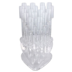 18 Pieces Clear Heart Shaped Plastic False Nail Art Tips Display Stand