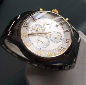 Mens Genuine Bulova Dress Chronograph 98B175 Designer Watch Roman Bi-tone Steel