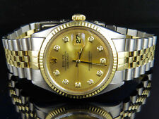 Mens Rolex Datejust 2 Tone 18K Gold/Steel Fluted Bezel 36MM 1601 Diamond Watch
