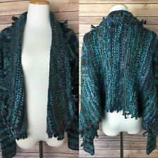 Free People Sz S Knotted Fringe Cardigan Sweater Shawl Collar Black Teal Gray