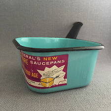 Vtg SQUARE Federal Enamelware Pan Frozen Food Age with Label Turquoise and Black