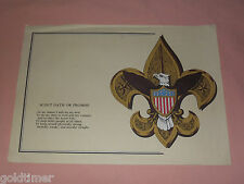 VINTAGE BSA BOY SCOUTS OF AMERICA SCOUT OATH OR PROMISE PAPER PLACEMAT