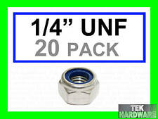 """Stainless Steel UNF Imperial Nylon lock Nuts  1/4""""   20 Pack"""