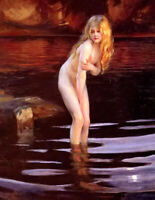 Oil painting paul emile chabas - la baigneuse the bather young girl by river art