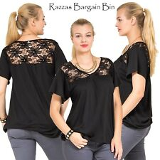 New Black Top With Lace Shoulders Plus Size 14/1XL (9719)JN