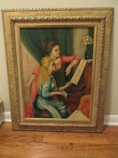 Vtg 1964 The Piano Lesson Renoir Painting Reproduction Framed Signed
