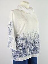 Shirt Tunika Gr.42 - 46 Designer Lagenlook Tuch Stern Pailetten weiß creme blau