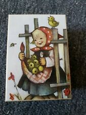 MAPSA HUMMEL Germany Girl with Apple Basket Swiss Music Box