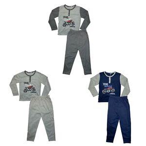 Boys Kids Pyjamas Long Sleeve Top Bottom Set Nightwear PJs Motorbike Cotton