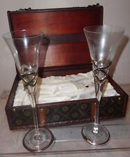 SET WEDDING VOWS TOASTING FLUTES GLASSES 12% GOLD PAINTED WOODEN CARRY BOX SPAIN