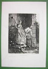 ITALIAN GIRLS Pick up Love Letter in Garden - Victorian Era Print