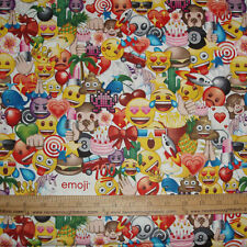 Cotton Fabric EMOJI Party All Emoji's Poop Cake Fist Pump Crown Monkey White BTY
