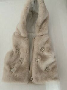 Baby Girl Cream Fur Bodywarmer/Gilet-Up To 1month